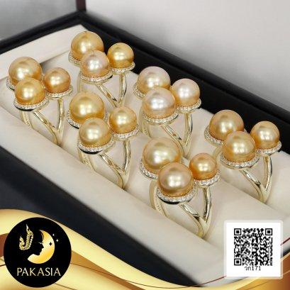แหวน Balloon ไข่มุก 3 สหายล้อมพลอยแท้ ไข่มุก South Sea น้ำเค็ม สีทอง-Dark Gold ทรงกลม ขนาด 7-8-9 mm เกรด AA+ ตัวเรือนแหวน Open ring เงินแท้ 92.5 ชุบทอง ประดับพลอยแท้ White Topaz 1.5 ct / 13.6.64
