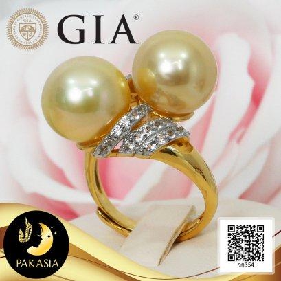 [GIA] แหวนไขว้ไข่มุกทวิน บ่าแหวนเกลียวประดับพลอยแท้ ไข่มุก South Sea น้ำเค็มคัดเกรด สีทอง Middle Gold ทรงเกือบกลม-กลม ขนาด 12 mm เกรด AAA ไข่มุกผ่านการตรวจรับรองคุณภาพจาก สถาบัน GIA ตัวเรือนแหวน Open Ring เงินแท้ 92.5 ชุบทอง พลอยแท้ White Topaz / 19.9.64