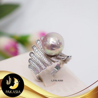 แหวนมุกคอร์เซ็ท มุกน้ำจืดคัดเกรด สีม่วงรุ้ง ทรงบาร็อค ขนาด 11.5 mm เกรด AA+ ตัวเรือนเงินแท้ 92.5 ชุบทองคำขาว ประดับเพชร CZ  /LZFN-C088