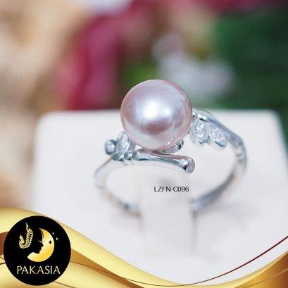 แหวนมุกเม็ดเดี่ยวกิ่งไม้ มุกน้ำจืดคัดเกรด สีม่วง ทรงซาลาเปา ขนาด 8-9 mm เกรด AA+ ตัวเรือนเงินแท้ 92.5 ชุบทองคำขาว ประดับเพชร CZ / LZFN-C096 / ค096