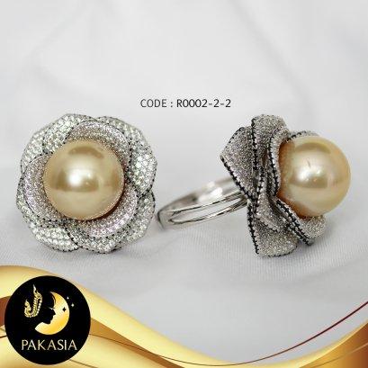 แหวนมุกดอกกุหลาบ มุก South sea คัดเกรด สีทอง Middle Gold ทรงกลม ขนาด 12 mm เกรด AA+ ตัวเรือนเงินแท้ 92.5 ชุบทองคำขาว ประดับเพชร CZ / R879 / ว879 / 28.2.64
