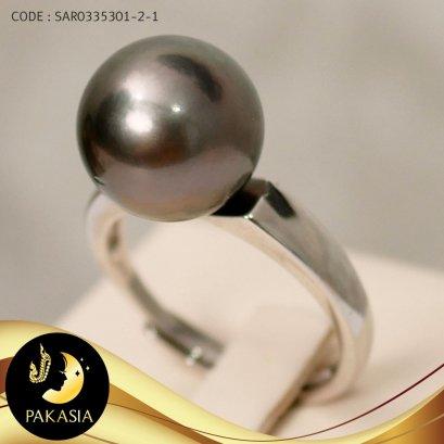 แหวนมุกเม็ดเดี่ยว มุกตาฮิติ ขนาด 13 mm เกรด AA+ / R709