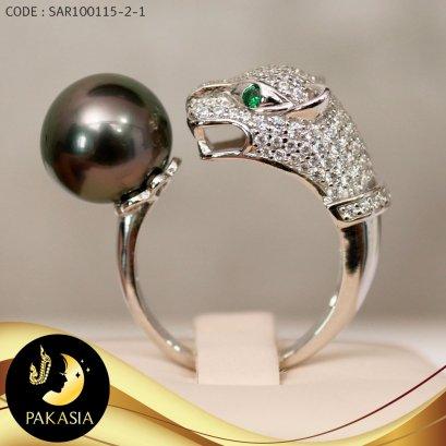 แหวนหัวเสือ มุกตาฮิติ เม็ดเดี่ยว ตัวเรือนเงินแท้ชุบทองคำขาวประดับเพชร / R707