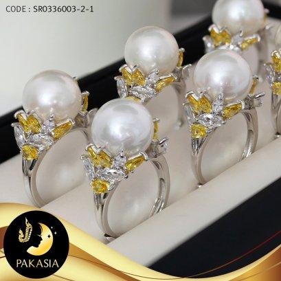 แหวนมุกเม็ดเดี่ยวช่อมะกอกประดับเพชร มุกน้ำจืดคัดเกรด สีขาว ทรงกลม ขนาด 12-13 mm เกรด AA+ ตัวเรือนแหวนเงินแท้ 92.5 ชุบทองคำขาว ประดับเพชร CZ / R889 / ว889 / 7.3.64