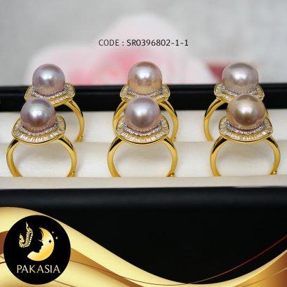 แหวนเวนิสมุกเม็ดเดี่ยวล้อมเพชร  มุกน้ำจืดคัดเกรด สีม่วงโอลด์โรส ทรงซาลาเปา ขนาด 10 mm เกรด AA+ ตัวเรือนเงินแท้ 92.5 ชุบทอง ประดับเพชร CZ / R861 / 10.2.64