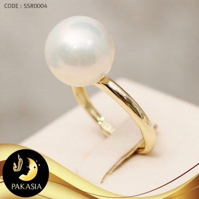 แหวนมุก มุกเม็ดเดี่ยว สีขาว ทรงบาร็อค ขนาด 11 mm เกรด AA+ ตัวเรือนเงินแท้ชุบทอง / R0004