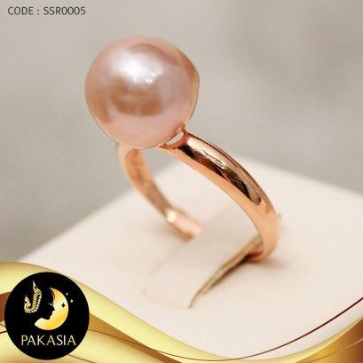 แหวนมุกเม็ดเดี่ยว มุกสีม่วงโอลด์โรส ขนาด 11 mm เกรด AA+ ตัวเรือนเงินแท้ 92.5 ชุบ Pink Gold / R0005