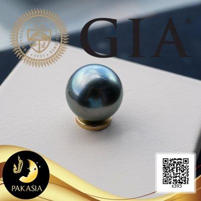 ไข่มุกตาฮิติ เม็ดเดี่ยว (Undrilled Pearl) น้ำหนัก17.34 ct พร้อม GIA Identification Report ไข่มุกตาฮิติน้ำเค็มคัดเกรดพรีเมี่ยม จาก เฟรนช์โปลินีเซีย (French Polynesia) สีดำ ทรงกลม ขนาด 13.37 mm เกรด AAA