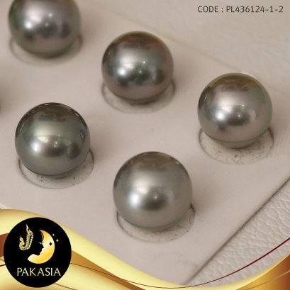 มุกจับคู่ มุกตาฮิติเกรดพรีเมี่ยม สีเทา Silver Gray ทรงกลม ขนาด 12 mm เกรด AAA  / M045
