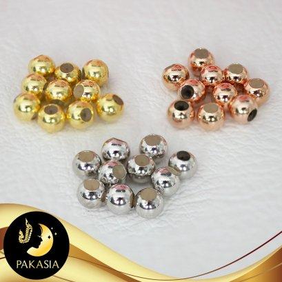 Stopper ล็อคบอลซิลิโคนเกลี้ยง ขนาด 4 mm จัดเซต 10 เม็ด  ตัวเรือนเงินแท้ 92.5 ตัวเรือนมี 3 สีให้เลือก ชุบทอง ทองคำขาว และ Pink Gold