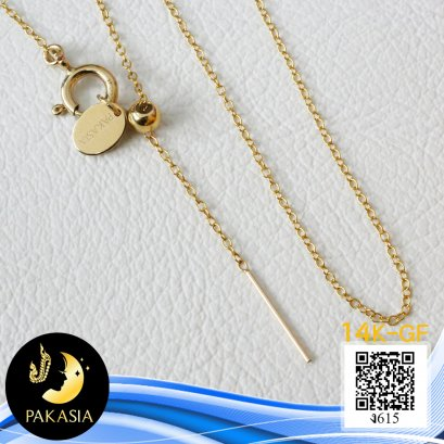 """สร้อยคอปลายเข็มเปล่า ลาย Cable Chain เล็ก ความยาวประมาณ 20"""" ตัวเรือนตะขอแบบสปริงกลม Stopper ปรับรูดความยาวได้ พร้อม Tag PAKASIA Gold Filled 14K"""