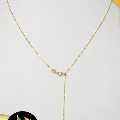 """สร้อยปลายเข็มทองแท้ 18K ลายโซ่เล็ก ความยาว 17"""" ตะขอสปริงกลม ห่วงคล้องตะขอแบบ Stopper ขนาด 3mm ปรับความยาวได้ (น้ำหนักทอง 0.4 g)"""