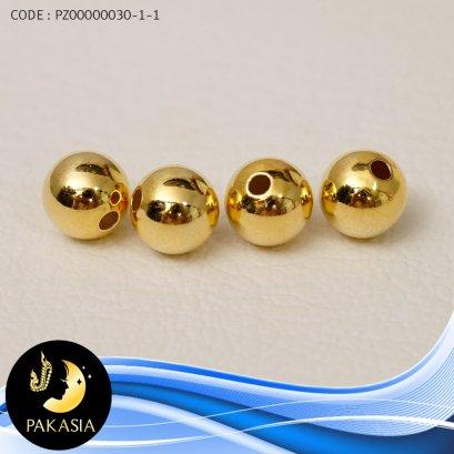คั่นบอลเกลี้ยง จัดเซ็ต 4 เม็ด ขนาด 7 mm ขนาดรูเส้นผ่านศูนย์กลาง 2 mm ตัวเรือนเงินแท้ 92.5 ชุบทอง / M042