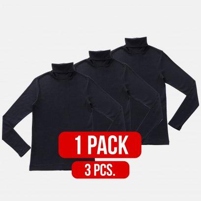 LONG SLEEVE T-shirt Turtle-Neck BLACK (1Pack)(3PCS.)