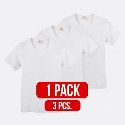 เสื้อยืดผู้ชาย คอกลม  เข้ารูป สีขาว แพ็ค 3 ชิ้น