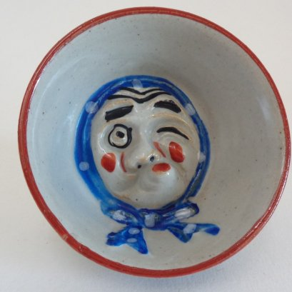 Sake cup with Hyottoko mask face Art pottery