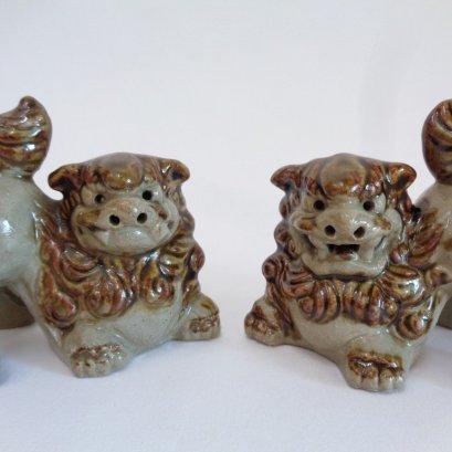 Shi Shi Lion-Dog pair, Okinawa ceramic Shi-Shi Dog Lion statuettes