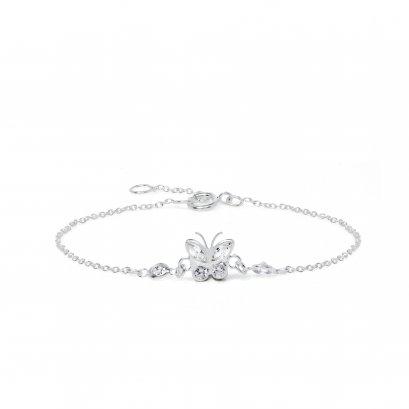 Sterling silver CZ butterfly  bracelet