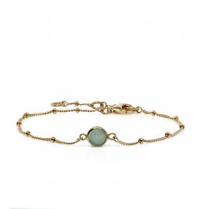 Amazonite Healing Stone Bobble Bracelet 18K Gold Plate