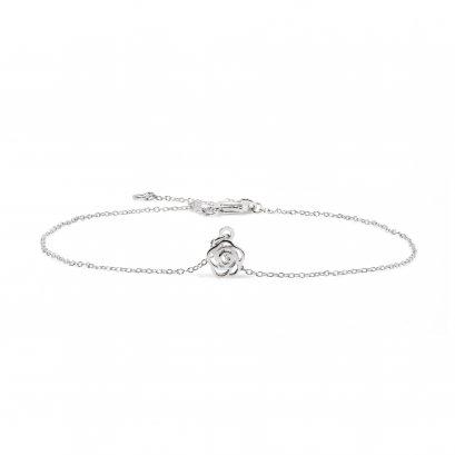 Sterling silver 'ROSE' anklet