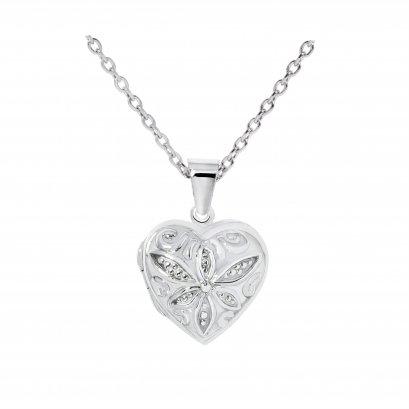Sterling Silver Heart 'flower' Locket