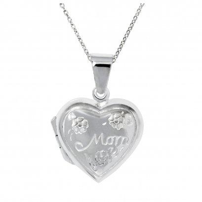 Sterling Silver Heart 'MOM' Locket