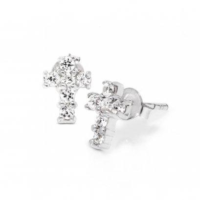 Sterling silver CZ  Cross Stud Earrings