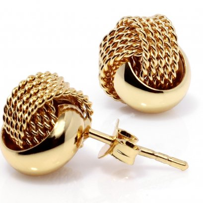 Sterling Silver Ribbed-And-Textured-Knot Stud Earring