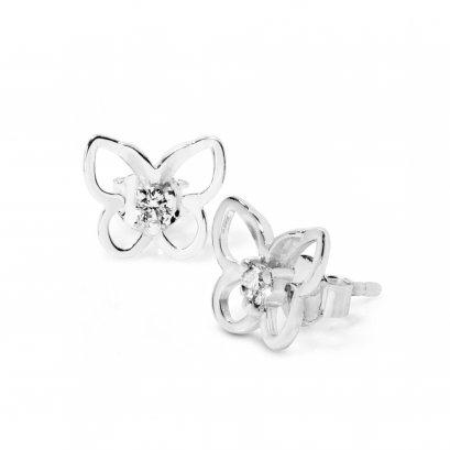 Sterling silver 'Butterfly' CZ Earrings