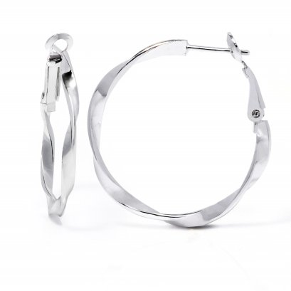 Sterling Silver Twist -Tube Hoop Creole Earring