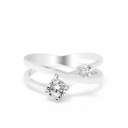 Sterling Silver Plated White CZ Ring