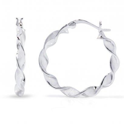 Sterling Silver  Twist Creole Earring