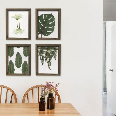 Dark Colour Wooden Frame with Photos - Original Leaves