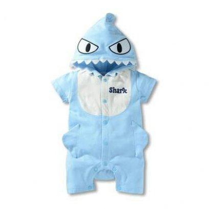 บอดี้สูทเด็กลาย Shark สีฟ้า