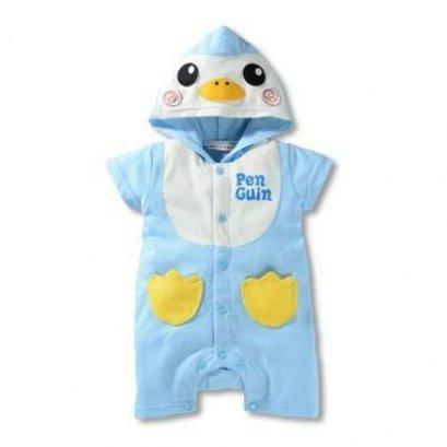 บอดี้สูทเด็กลาย Penguin สีฟ้า