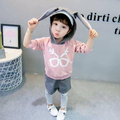 ชุดเซ็ทเสื้อแขนยาวสีชมพูแต่งฮู้ดกระต่าย กางเกงขายาวแต่งขาสั้นชั้นนอก