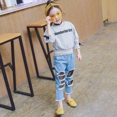 ชุดเซ็ทเสื้อสไตล์เกาหลี+กางเกงยีนส์