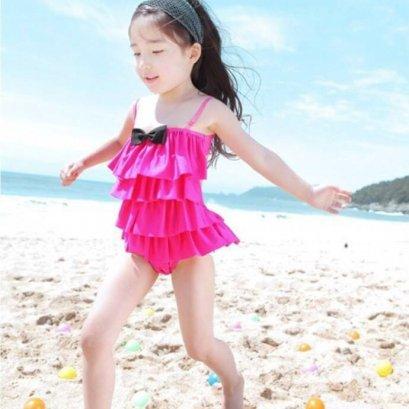 ชุดว่ายน้ำเด็ก วันพีทเว้าหลังสีชมพูเข้ม