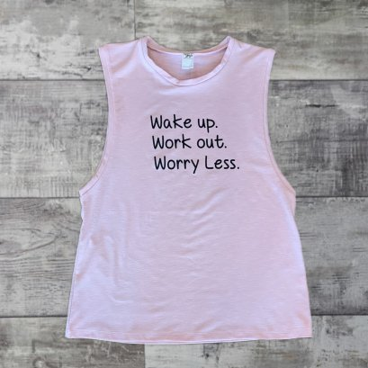 SLAVI TANK ลาย WAKE UP / WORK OUT /WORRY LESS