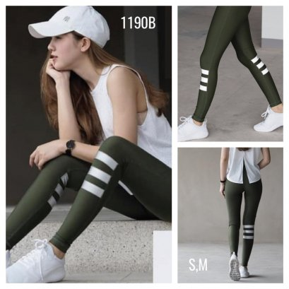THREE STRIPES - FIT FEEL LEGGINGS เขียวทหาร