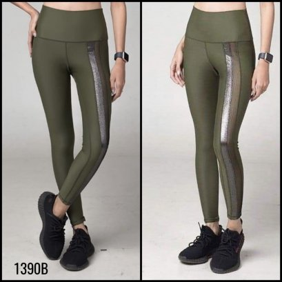 SEE THROUGH   - FIT FEEL LEGGINGS เขียวทหาร