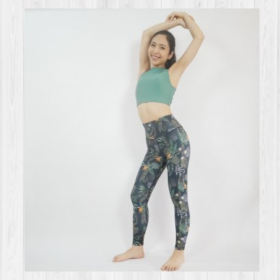 BASIC LEGGINGS - DARK TROPICAL /L ONLY