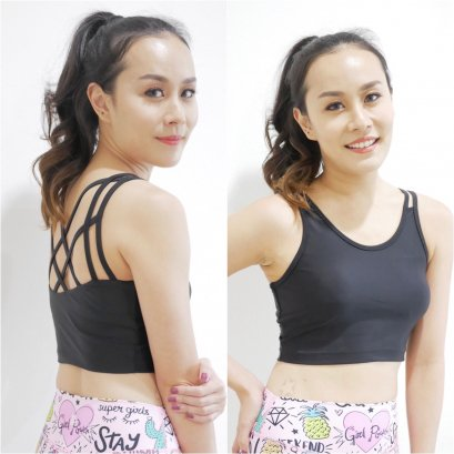 FLEXY CROP BRA  - BLACK