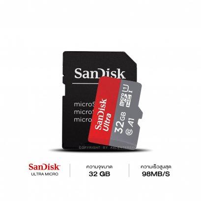 Sandisk MicroSD 32GB. A1 ความเร็ว 98 MB/s