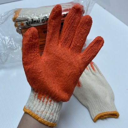 ถุงมือเคลือบยางพารา (สีส้ม)