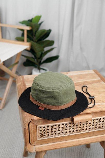 G007 Light Brown (หมวกเดินป่า ทรงบักเก็ตเขียวอ่อน