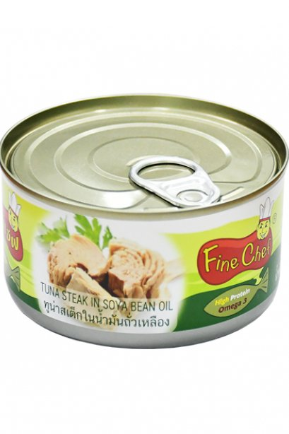 FINECHEF_STEAK TUNA IN SOYA BEAN OIL  (  Nw. 185 g. / Dw. 140 g. )