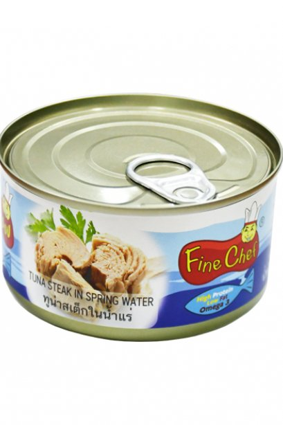 FINECHEF_STEAK TUNA IN SPRING WATER  (  Nw. 185 g. / Dw. 140 g. )