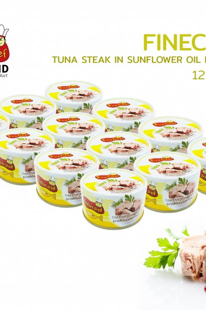 FINECHEF_STEAK TUNA IN SUNFLOWER OIL (  Nw. 185 g. / Dw. 140 g. )