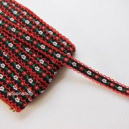 เทปผ้าลายดอกไม้ สีดำ-แดง กว้าง 1.2 ซม. ยาว 90 ซม.